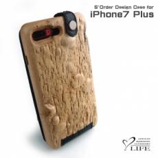 別注品:iPhone 7 Plus 専用木製ケース/玉杢/レザーカバー