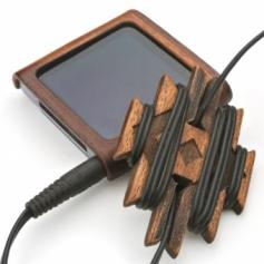 for earphone stpper-E 木製イヤフォンコードリール