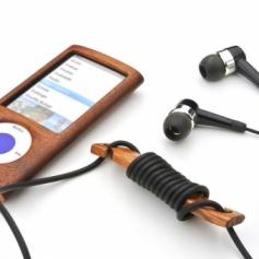 for earphone stpper-D 木製イヤフォンコードリール