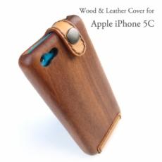 i Phone 5C専用 木と革のデザインケース
