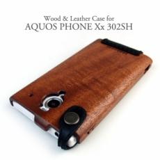 AQUOS Xx 302SH 専用 木と革のデザインケース
