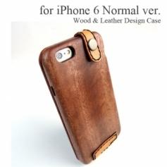 Apple iPhone 6/6S 専用 木と革のデザインケース
