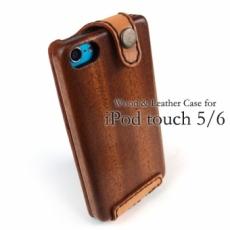Apple iPod touch 5/6 専用木と革のケース(木側ボタン)