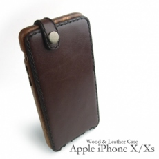 Apple iPhone X / Xs 専用 木と革のデザインケース縦開き