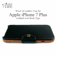 iPhone 7 Plus専用 木と革のデザインケースBookタイプ