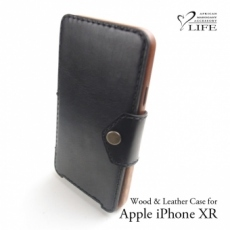 Apple iPhone XR 専用 木と革のデザインケース Book Type