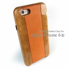 別注:iPhone 6/6s 専用木と革のケース