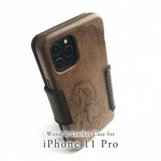 Apple iPhone 11 Pro 専用 木と革のデザインケース Book Type