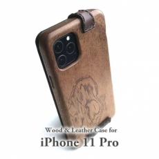 Apple iPhone 11 Pro 専用 木と革のデザインケース
