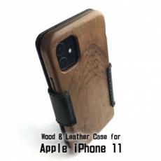 Apple iPhone 11 専用 木と革のデザインケース Book Type