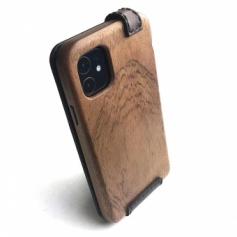 Apple iPhone 11 専用 木と革のデザインケース
